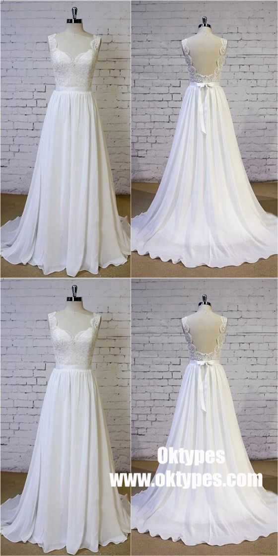 079726a87cf Cheap Backless V Neck Lace Straps Simple Beach Wedding Dresses ...