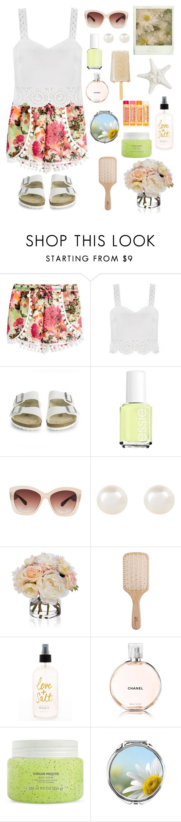 """""""Summer outfit!"""" by genesis129 ❤ liked on Polyvore featuring Quiz, Birkenstock, Essie, Eloquii, Accessorize, Diane James, Philip Kingsley, Chanel and Burt's Bees"""