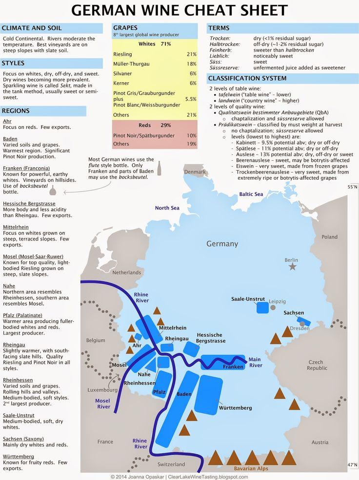 Germany wine regions cheat sheet: Map by Clear Lake Wine Tasting #wine101 #map #Germany