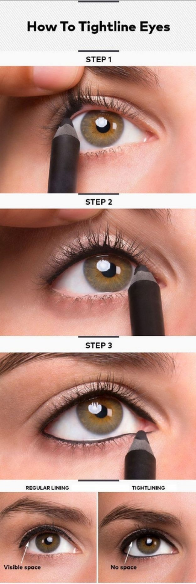 How to Tightline Eyes | Eyeliner Tips and Tricks for A Perfect Tightline Eyeliner Look by Makeup Tutorials at http:∕∕makeuptutorials.com∕makeup-tutorials-beauty-tips