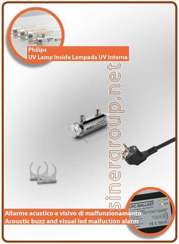 """UltraRays sistema UV Completo 4W. 1/4"""" F.  Costruito in corpo in acciaio Inox AISI 304, il sistema è compreso di clip per il fissaggio. * Pressione massima di esercizio: 10bar (145psi) * Radiazione ultravioletta: 30.000 W/cm2 * Portata acqua filtrata: 0,8LT/MIN. (0,21 G"""
