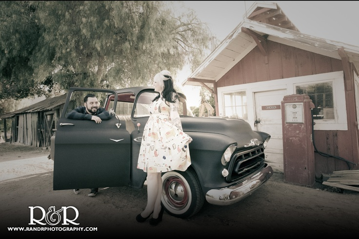 Vintage Engagement Photography | Car Engagement Photo | Tattooed Bride to Be