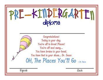 pre k graduation ideas cat in the hat kindergarten diplomas