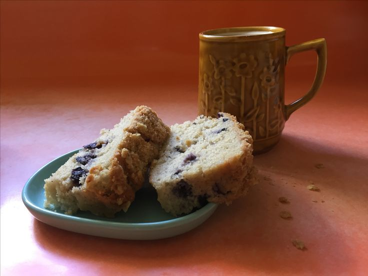 Blueberry loaf and Crown Lynn cup.