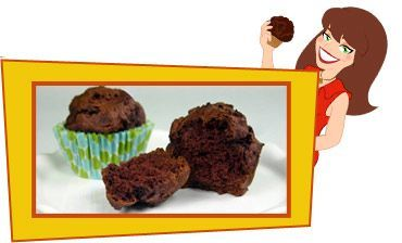 """Hungry Girl's """"Yum Yum Brownie Muffins"""" recipe.  I've made this multiple times - you substitute pure pumpkin in place of the eggs, oil, etc.  Awesome!  For an extra kick I've sometimes added just a few mini chocolate morsels to the tops while the muffins are still hot."""