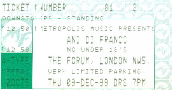 https://flic.kr/p/GgeYmf | 19991209AniDifranco | 9 Dec 1999 Ani Difranco The Forum London