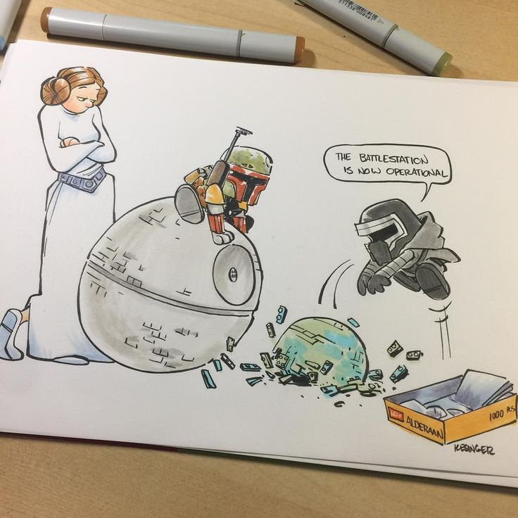 Star Wars Comic (Calvin and Hobbes) - Kylo Ren and Boba Fett destroying Alderaan with Lego Death Star.