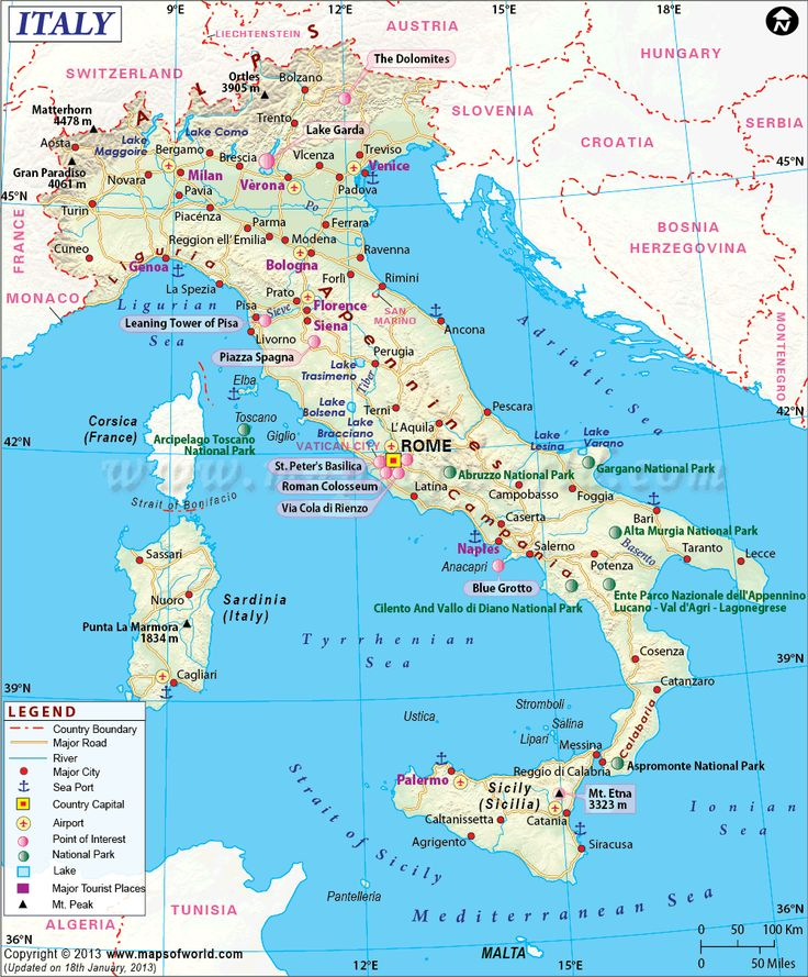 1) Italy 2) 2013 3) Mapsofworld.com 4) (Instruments, Environmental, Thematic/General Reference) 5) This map is very diverse with what it provides. It is not the only map you would use to navigate with, but it gives the important key points of the Country.