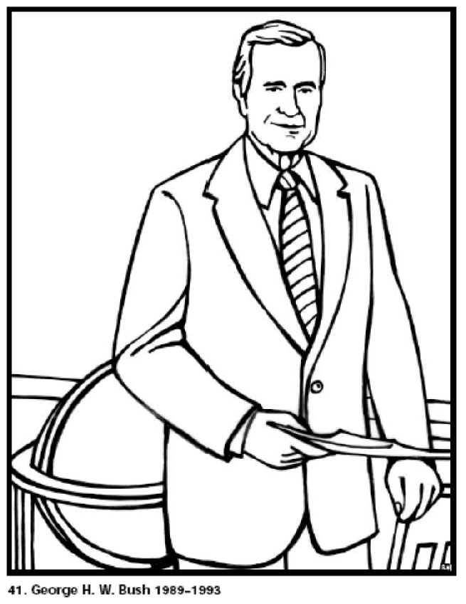 Free Printable President George H Bush Coloring Pages