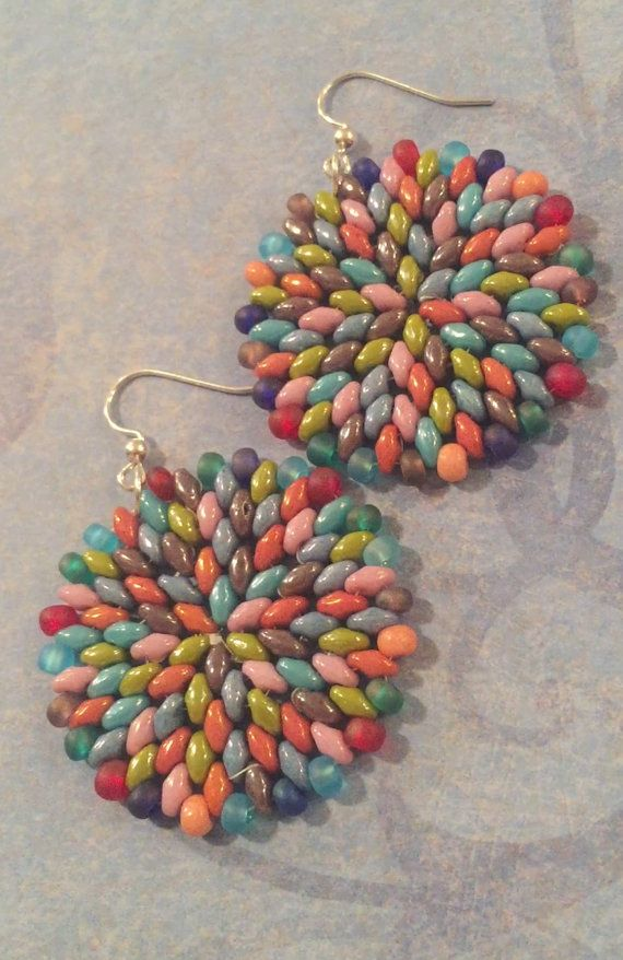 Confetti Splash Twin Bead Earrings - Big Bold Disc Earrings - Beadwork Jewelry - Statement Jewelry