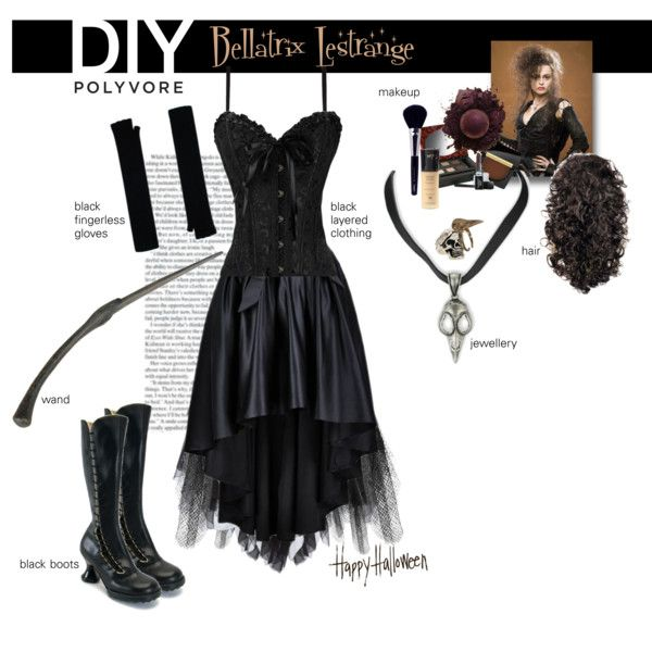 DIY Halloween Costume: Bellatrix Lestrange by sharmarie on Polyvore featuring Donna Karan, Rodarte, Wearevers, Han Cholo, Diego Dalla Palma, Lancôme, Boots No7, Napoleon Perdis, Butter London and Bellatrix