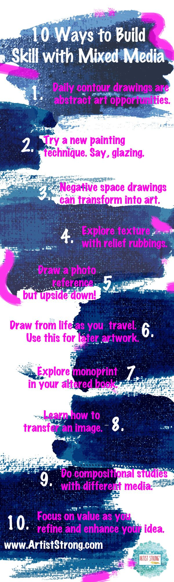 10 ways to build your skill using mixed media art | free art lessons | inner artist | art ideas