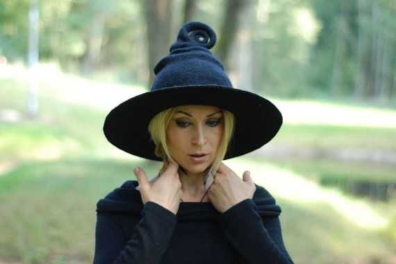 Ive been making hats for faeries, elves, gnomes and other mystical creatures. This time I offer new model for good witch or wizard. This witch hat will be made of 100% wool using wet felting technique . Its made absolutely by hand in my small home studio. Who said that color of the witch hat have to be black? Chose your own colors and become more colorful and the most amazing witch in the world! There can be flowers or leaves added as a embelishment…