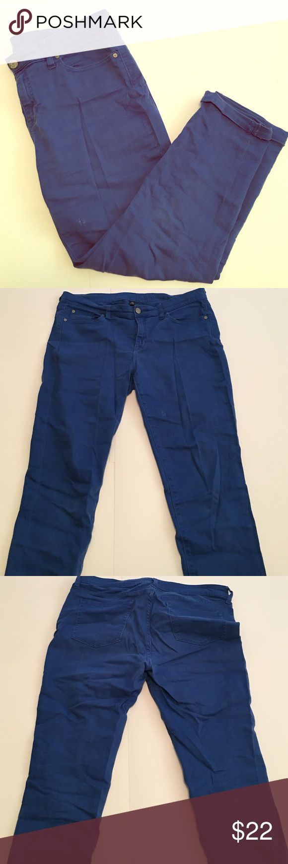 Royal blue skinny jeans These are a great pair of casual skinnies perfect to dress up or down. They have two little stains on the left thigh (pictured) but are in great condition. They do loosen up during the day. Old Navy Jeans Ankle & Cropped