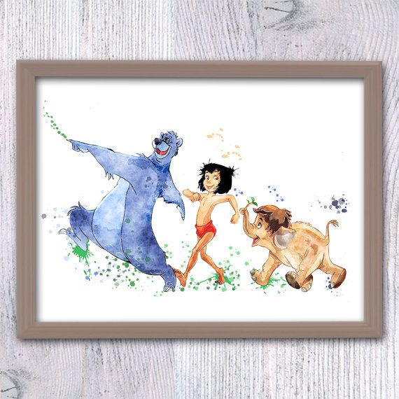 The Jungle Book art print Jungle Book watercolor by ColorfulPoster