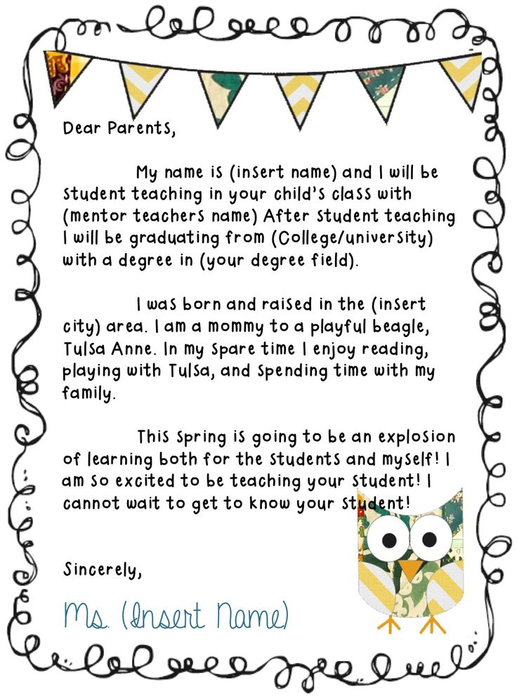 needing to make a letter to send to parents to introduce yourself as a student teacher