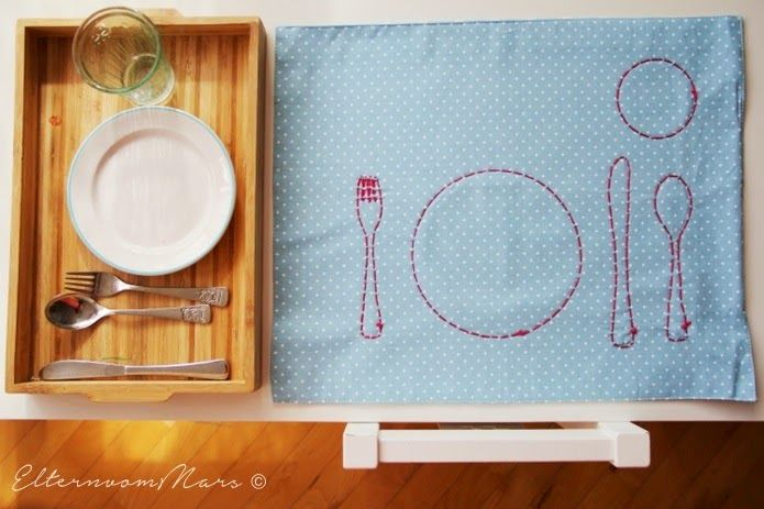 Gorgeous. Love the stitched placemat teaching the child where to put the utensils etc. You can translate the page into english top left corner. Eltern vom Mars: Montessori für Einsteiger - Teil 4