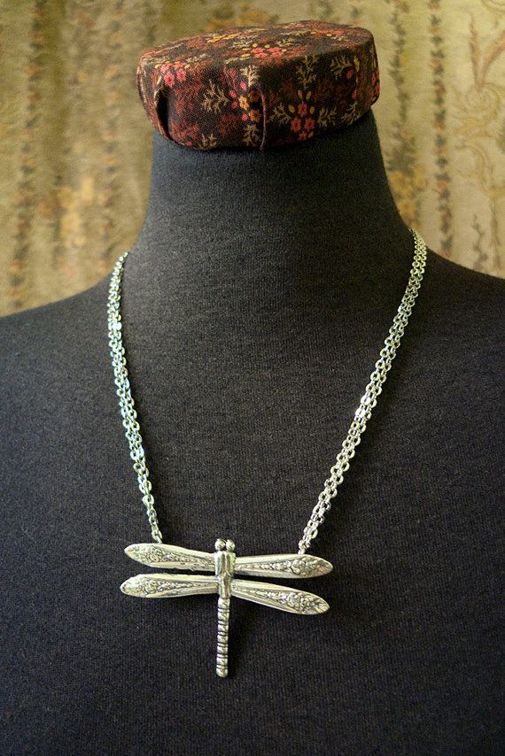 Spoon Necklace Dragonfly by Silver Spoon Jewelry by silverspoonj, $59.00