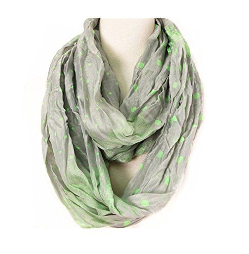 Maikun Scarf Shawl Lace and Polka Dots Print Infinite Scarf Oblong Grey >>> Check out this great product.