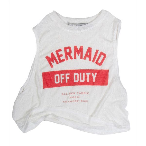 Mermaid Off Duty Crop Muscle Tee ($100) ❤ liked on Polyvore featuring tops, shirts, tank tops, crop tops, mesh shirt, muscle t shirts, graphic design shirts, skate shirts and crop shirts