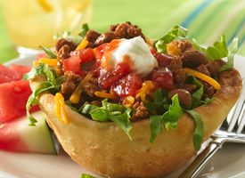 Grands!® Biscuit Taco Cups :: great little appetizer >> Interesting, would probably alter this a bit, but could be really fun!