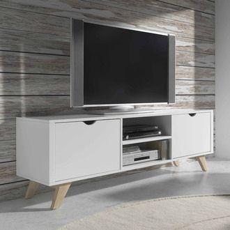 Meuble TV bas en bois avec 2 portes et 2 niches L150cm PABLO kaligrafik port offert