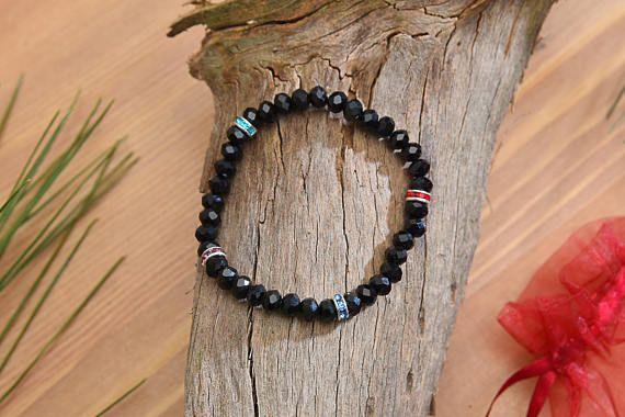 6mm Black Beads & Colorful Rhinestone Spacers Bracelet Black