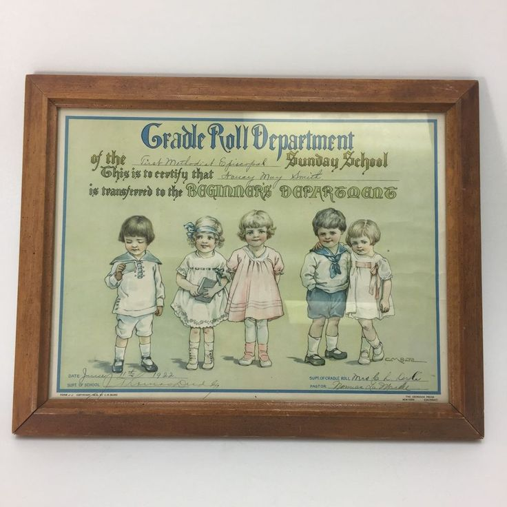 Vtg 1922 Methodist Episcopal Sunday School Children's Certificate Framed Church  | eBay