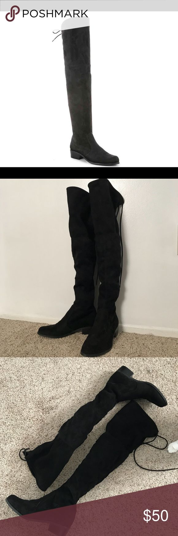 """Black over the knee faux suede flat boots Black Charles by Charles David over the knee flat boots. Worn for a handful of times, still in great condition. Very cute! Go with any outfit. Please feel free to make a reasonable offer. 👇  Stretch faux suede upper Top line lacing for secure fit 21 1/2"""" shaft height, pull on 12"""" calf circumference Fabric lining 1 1/2"""" stacked heels Synthetic sole Charles David Shoes Over the Knee Boots"""