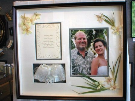 A fantastic example of a custom created wedding day shadowbox - preserve those memories!