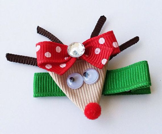 Free Shipping on orders of $15 or more (excluding shipping).. Use coupon code freeshipping at checkout :)    This adorable Reindeer Hair Clip is the