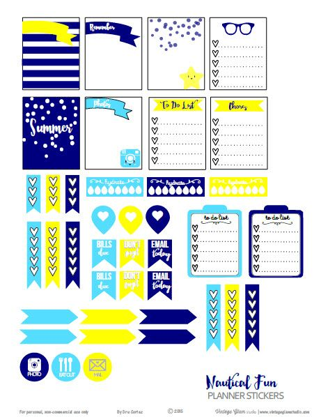 Free printable download of nautical planner stickers suitable for Erin Condren life planners and other vertical weekly planners. Free for personal use only.