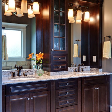 Center Vanity Tower With Granite Backsplash To Prevent Water Damage Dream Home Pinterest