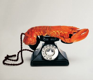 Salvador Dali -Surreal Object (Téléphone - Homard) 1936. This is a classic example of a Surrealist object, made from the conjunction of items not normally associated with each other, resulting in something both playful and menacing. Dalí believed that such objects could reveal the secret desires of the unconscious. There are numerous versions of this object.