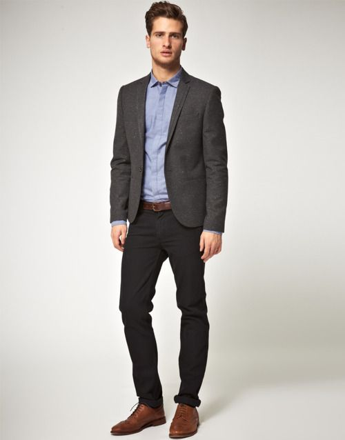 Shop this look for $234:  http://lookastic.com/men/looks/brogues-and-chinos-and-dress-shirt-and-belt-and-blazer/353  — Brown Leather Brogues  — Black Chinos  — Blue Dress Shirt  — Brown Leather Belt  — Charcoal Blazer