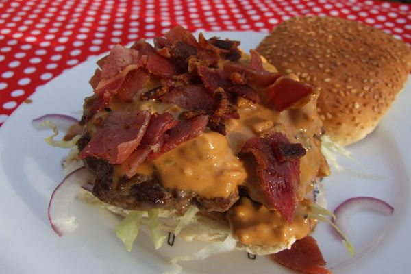 Butter Burger Recipe | ... burger, then some of the peanut butter sauce. Top with crispy bacon