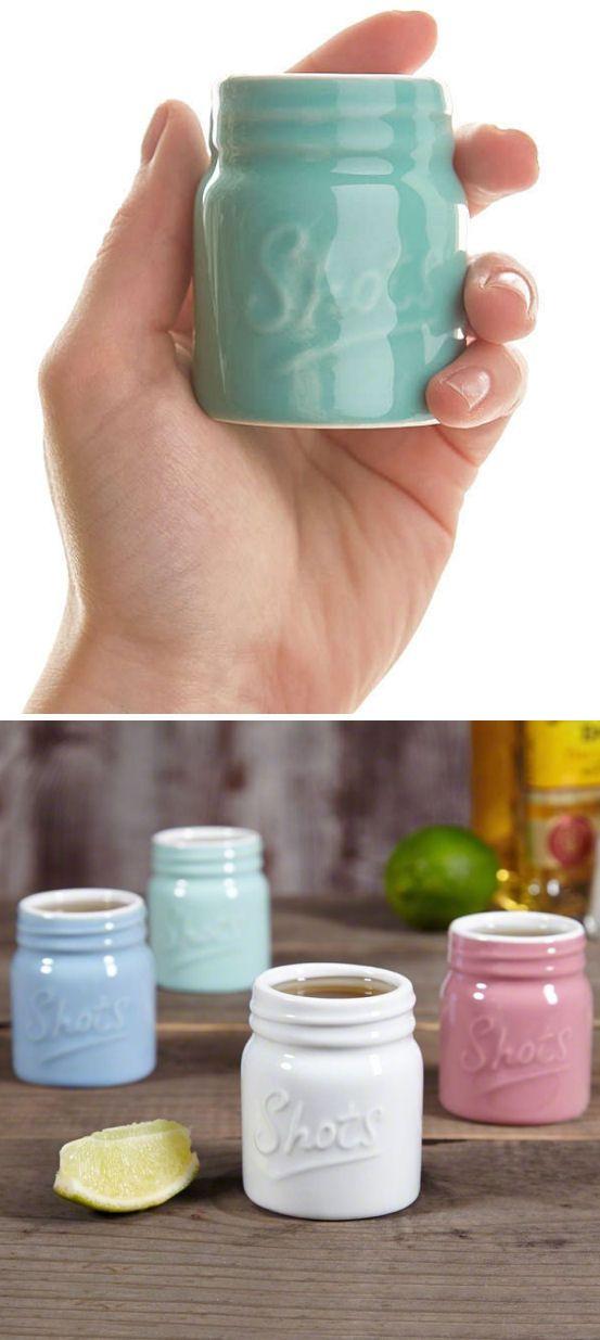 Ceramic Mason Jar Shot Glasses