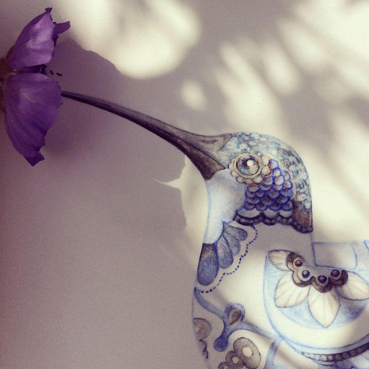 Tekening kolibrie blauw, te koop via Etsy.