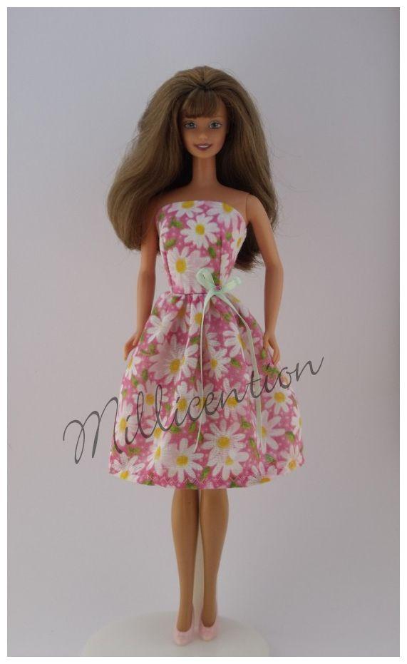 Pink daisy Barbie doll dress