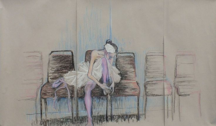 Robyn - The Trouble with Dance - Pastel on Paper - Truro College A Level Fine Art Coursework Show 2017