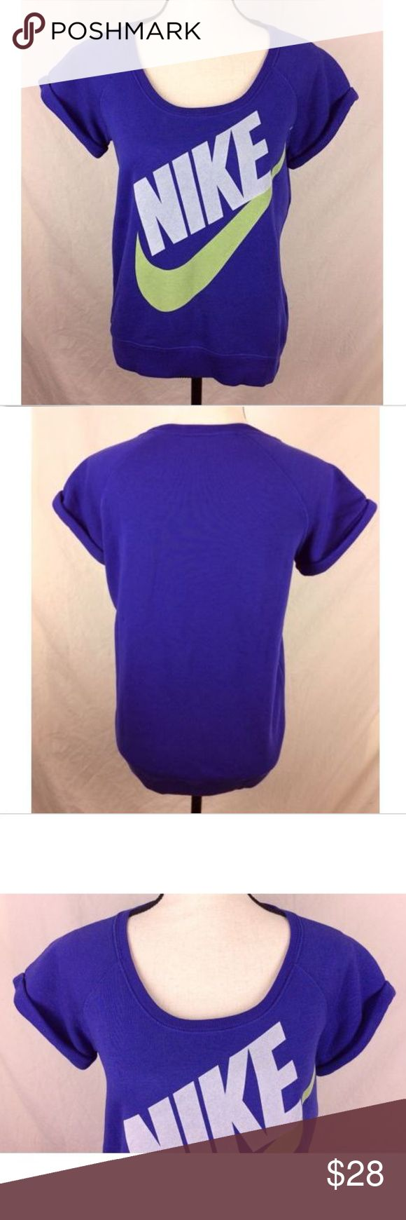 "NIke Short Sleeve Sweatshirt Purple Medium Women's Nike Short Sleeve Sweatshirt size Medium.  Color is purple with gray Nike & green swoosh. Good condition.   Measurements laying flat Chest 18.5"" Length 24"" front, 25"" back Nike Tops Sweatshirts & Hoodies"