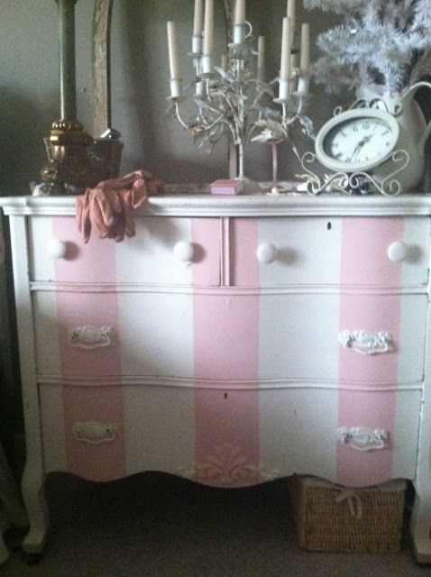 http://cindysfracturedfairytale.blogspot.com/2012/12/pink-stripes-i-had-to-do-it.html Striped dresser