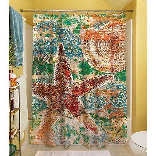 1 Piece Multi Nature Motif Theme Shower Curtain Beautifu