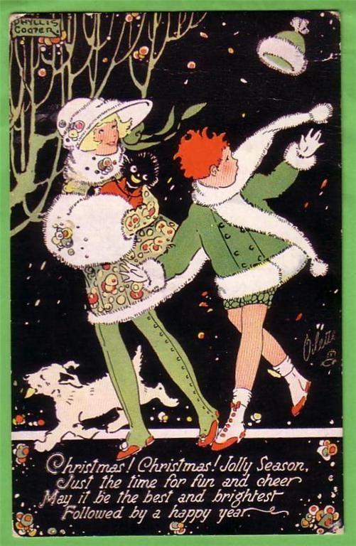 postcard quenalbertini vintage art deco christmas card phyllis cooper art