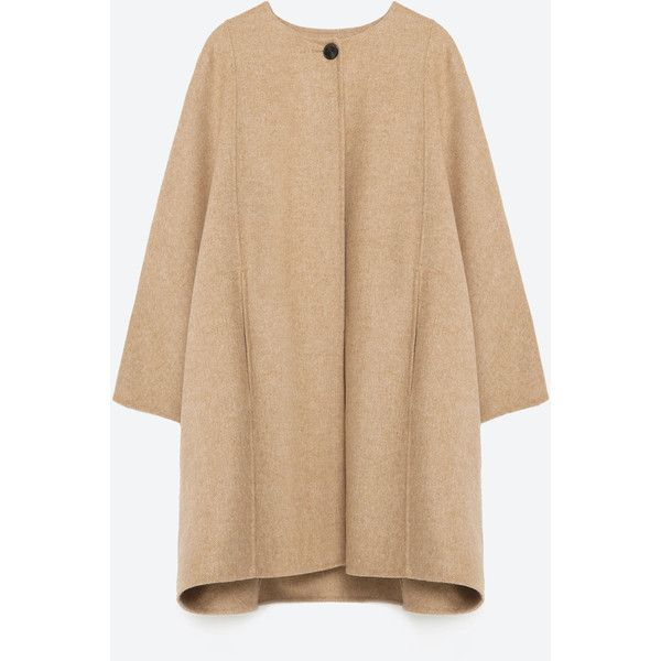 Zara Hand Made Cape (u20ac175) Liked On Polyvore Featuring Outerwear Camel Camel Cape Cape Coat ...