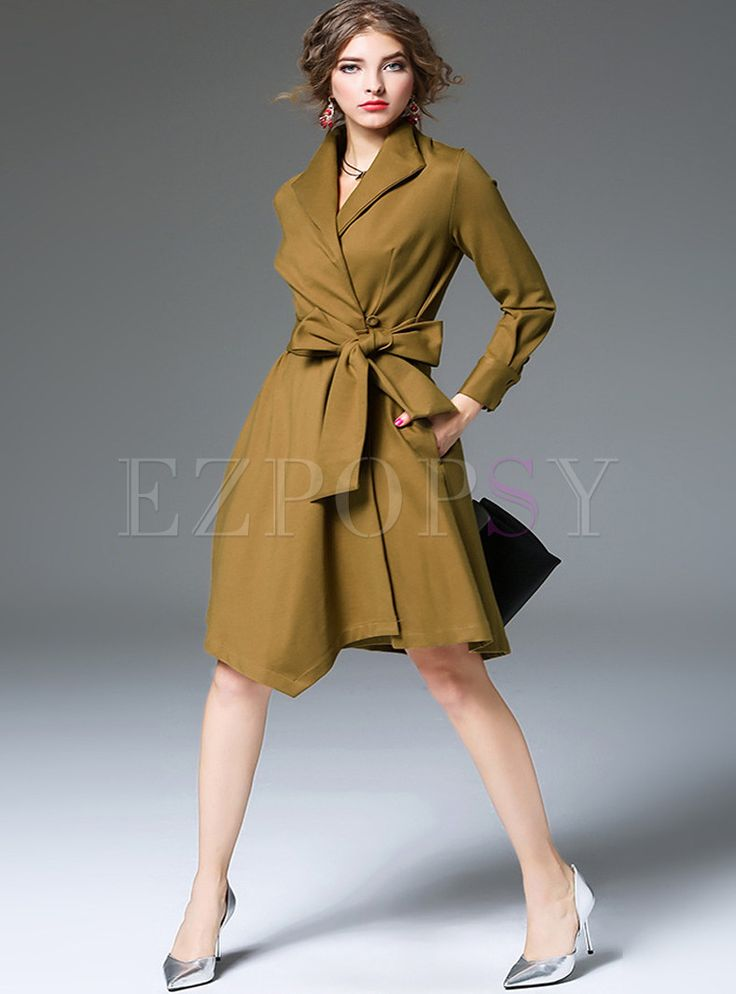 Shop for high quality Retro Irregularity Pure Color Skater Coatdress online at cheap prices and discover fashion at Ezpopsy.com