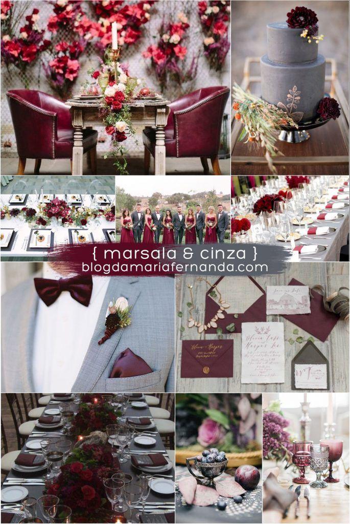 Decoração de Casamento : Paleta de Cores Marsala e Cinza