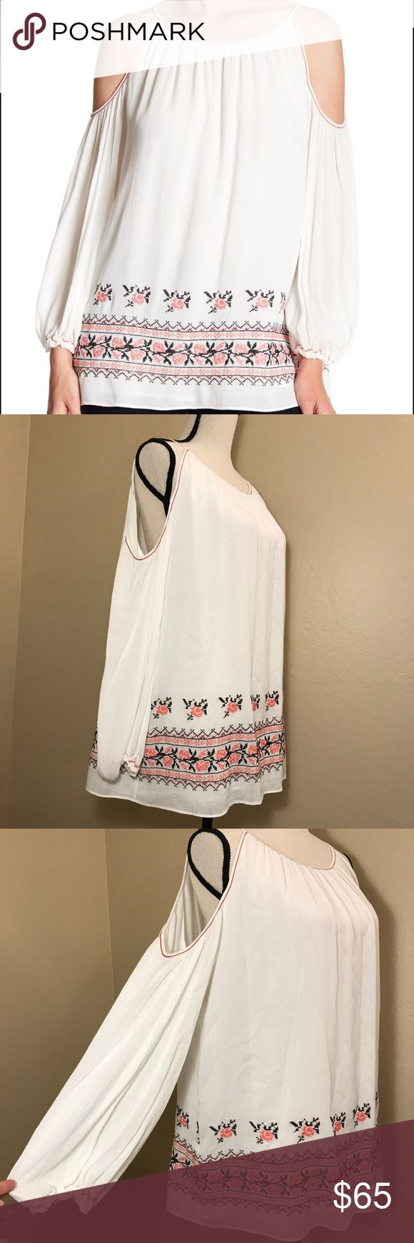 NWT Max Studio Cold Shoulder Peasant blouse New with Tags! Max Studio Cold Shoulder white Peasant Blouse with pink and blue Embroidered detail at bottom, tied back detail, and pink stitching. Max Studio Tops Blouses
