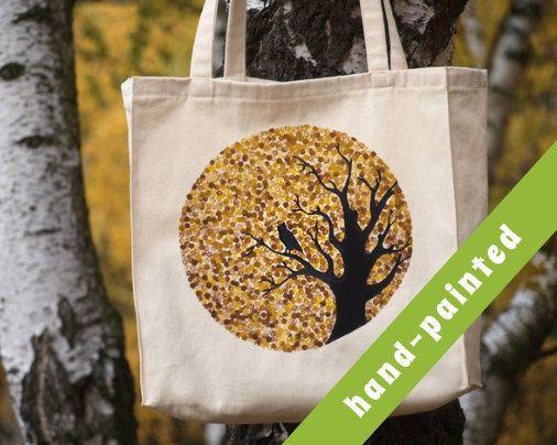 owl tote bag Cotton tote bag Eco bag natural color by tsomoriri