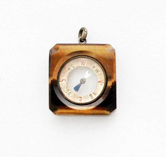 Rare Tiger Eye Compass Pendant / 1920s by TheCompassCollector, €179.90